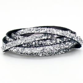 DQ leren band smal 6mm - 2,5mm dik - kleur glitter zilver (PL06-006) - 20cm