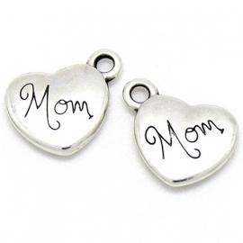"""DQ metaal bedel hart met tekst """"mom"""" 14mm (B02-168-AS)"""