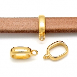 DQ metaal Goud kraal met oog 5x17mm voor REGALIZ leer gat maat 7x10mm (B01-051-SG)