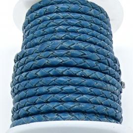 DQ 4mm rondgevlochten Buffel Leather - kleur AZURE BLUE ANTIQUE - 20cm (BRGL-4-12)