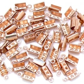 DQ metaal ROSE GOUD veterklem voor koord 2/2,5mm maat 4x9,5mm (B05-050-RG) - 4 stuks