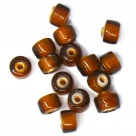 (BJBR-005) glaskraal tonnetje donkerbruin 5mm - 20 stuks