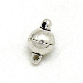 DQ metaal magneetsluiting Rond Bolletje met 2 oogjes maat 5,2x8mm (B07-130-AS)