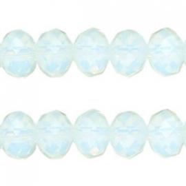 glaskraal facet 6x8mm crystal opal (BK14388) - 21 stuks