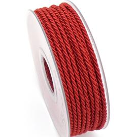 gedraaid koord 3mm dik - kleur rood - (KL304608) - lengte 2 meter