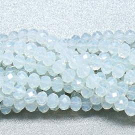 glaskraal rondel facet 4x6mm - streng van ongeveer 100 kralen (BGK-005-031) kleur white opal