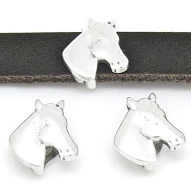 DQ metaal schuifkraal paardenhoofd voor 10mm breed leer maat 13x15mm - gaten 10x2.5mm (B04-168-AS)