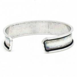DQ metaal cuff armband voor 10mm leer maat armband 14.4x66mm (B08-016-AS)