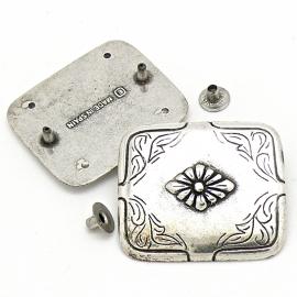 10-0108 concho met pin rechthoek sierlijk maat 40x33mm