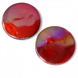 schelp kraal rond 25mm kleur parelmoer fuchsia rood (BJSC004)
