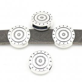 DQ metaal schuifkraal boho rond met print gat 2,5-10mm (B04-134-AS)