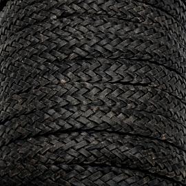 DQ plat gevlochten soft leather 13/14mm breed - kleur vintage black - 20 cm (BPGL-14-04)