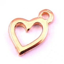 DQ metaal ROSE GOUD bedel schuin hart 14x19mm (B02-034-RG)