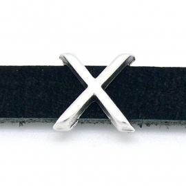 DQ metaal schuifkraal voor 10mm breed leer - letter X- maat 14x14mm - gat 2,5x10mm (B04-091-AS)