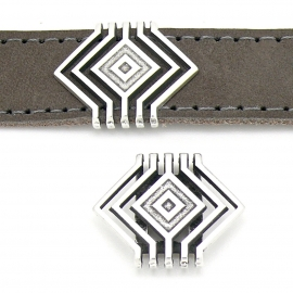 DQ metaal schuifkraal Boho geometrisch 30x23mm voor 20mm breed leer (gat 2,5x20mm) (B04-147-AS)