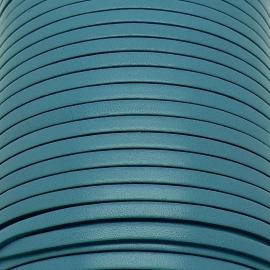 soepele lederen band smal 5mm - dik 2mm - kleur caribean blue - 20cm (PL05-032)