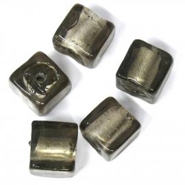 glaskraal vierkant 12mm grijs silverfoil (BJGR005) - 2 stuks