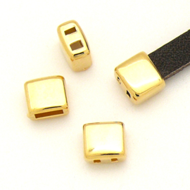 DQ metaal GOUD eindkap met 2 gaten voor 5mm breed leer maat 7.5x6.6mm - gat 2x5mm (B06-038-SG)