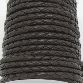DQ 3mm rondgevlochten leer - kleur donkerbruin - 20cm