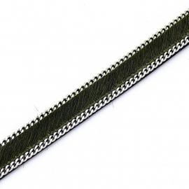 DQ professional platte leerband 10mm breed, 20cm lang vacht donker olijfgroen met ketting (PL10-HLSCP-19)