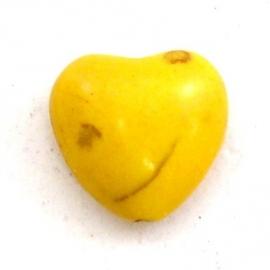 keramiek bolle hartvorm kraal 15mm kleur geel (BJ601)