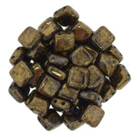 Czechmates Tile Bead maat 6mm - kleur Jet / Bronze Picasso - 25 stuks