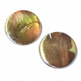 schelp kraal rond 25mm kleur parelmoer taupe (BJSC015)