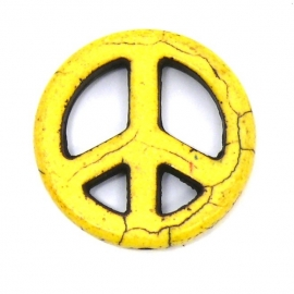 BJ362 keramiek kraal peace geel 25mm
