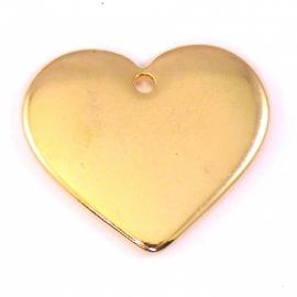 DQ metaal GOUD bedel massief hart 25x30mm (B02-040-SG)