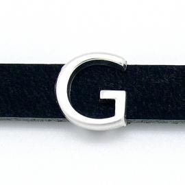 DQ metaal schuifkraal voor 10mm breed leer - letter G - maat 13x14mm - gat 2,5x10mm (B04-074-AS)