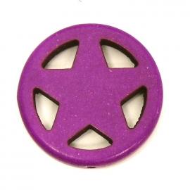 BJ355 keramiek kraal rond 25mm sherrifstar kleur paars