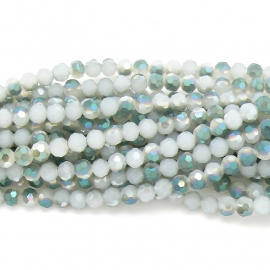 glaskraal rond facet 6mm - streng van ongeveer 100 kralen (BGK-002-021) kleur milky white diamond coating