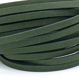 DQ leren band smal 5mm - 2,2 dik circa 100cm lang - kleur trend groen (PL05-013)