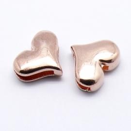 DQ metaal ROSE GOUD schuifkraal hart voor 10mm breed leer (B04-003-RG)