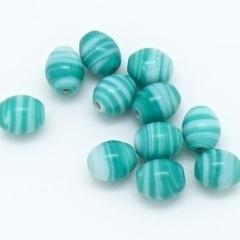 (BJBL-023) glaskraal ovaal stripes zeegroen/blauw 9x10mm - 5 stuks