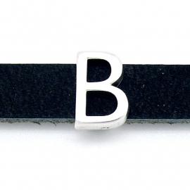 DQ metaal schuifkraal voor 10mm breed leer - letter B - maat 10x14mm - gat 2,5x10mm (B04-069-AS)