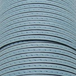 soepele lederen band smal 5mm - dik 2mm - kleur celeste gestikt - 20cm (PL05-035)