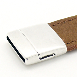 DQ metaal magneetsluiting voor 20mm plat leer, gat 20x2.5mm (B07-112-AS)