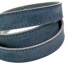 platte leerband Buffel volnerf gestikt leer kleur navy blauw - breed 20mm - lengte 20cm (PL20-004)