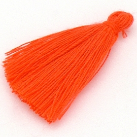 kwastje satijn lengte circa 30mm kleur fluor orange (KW-30-012)