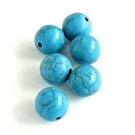 keramiek kraal 12mm donker turquoise - 5 stuks