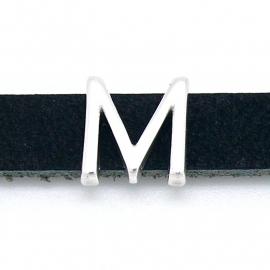DQ metaal schuifkraal voor 10mm breed leer - letter M- maat 13x14mm - gat 2,5x10mm (B04-080-AS)