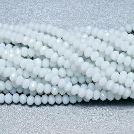 glaskraal rondel facet 3x4mm - circa 148  kralen (BGK-004-019) kleur opaque white