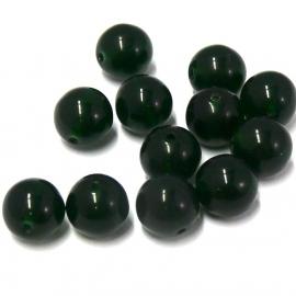 (BJG-014) glaskraal rond 10mm diep donkergroen - 10 stuks