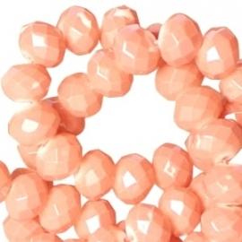 glaskraal facet 6x8mm vintage tropical peach orange (BK18720) - 30 stuks