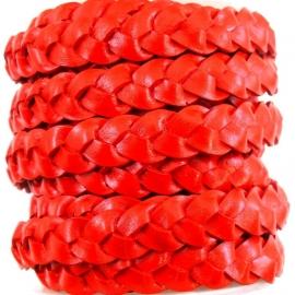 DQ plat gevlochten leer 10mm breed ROOD (M17915) 20cm