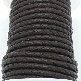 DQ 4mm rondgevlochten Buffel Leather - kleur DARK BROWN - 20cm (BRGL-4-04)