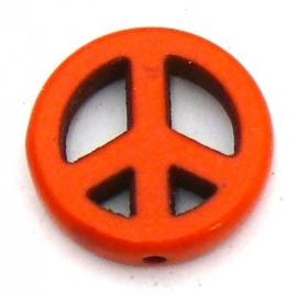 BJ389 keramiek kraal peace 15mm kleur fel oranje