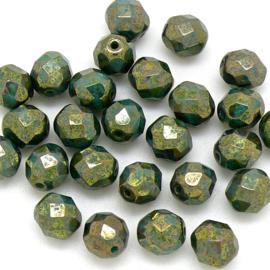 (BJG-002) glaskraal rond facet geslepen 8mm col. LG63130 kleur Turquoise Bronze Picasso  - 10 stuks