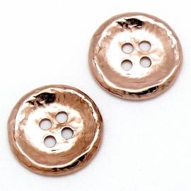 DQ metaal ROSE GOUD kraal knoop curved hamerslag maat 25x27mm 4 gaten (B01-059-RG)